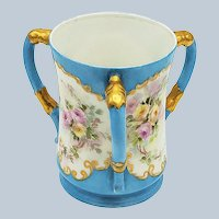 """Fabulous Elite Limoges France 1900 Hand Painted """"Pink & Yellow Roses"""" 3-Handle Robin Blue Floral Love Cup by Artist, """"J.W."""""""