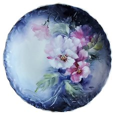 """Striking Bavaria 1900's Hand Painted Vibrant """"Pink & White Pansies"""" Floral Plate by Artist, """"Hortanne"""""""