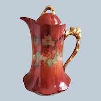 """Gorgeous Bavaria 1900's Hand Painted """"Red Currant"""" 9-1/2"""" Floral Chocolate Pot by Artist, """"L.C.C."""""""