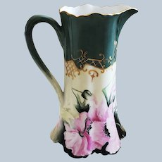 """Wonderful Haviland France Limoges 1900's Hand Painted """"Pink Poppies"""" 7-3/4"""" Floral Pitcher by Artist, """"Nellie Henton"""""""