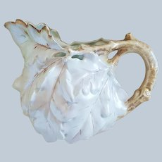 "Gorgeous Vintage Large Royal Bayreuth 1900 ""White Oak Leaf"" 6-1/2"" Satin Finish Water Pitcher"