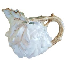 "Gorgeous Vintage Large Royal Bayreuth 1900 ""White Oak Leaf"" 6-1/2"" Satin Finish Water Pitcher"