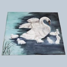 """Exceptional Bavaria 1900's Hand Painted """"Majestic White Swan & Ducklings"""" 10"""" x 8"""" Scenic Plaque by Artist, """"J.E. Helm"""""""