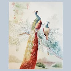 """Stunning Bavaria 1900's Hand Painted """"Pair of Peacocks In A Tree"""" 10"""" x 8"""" Scenic Plaque"""