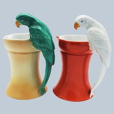 """Spectacular & Scarce Royal Bayreuth 1900's Hand Painted """"Parrot Handle"""" 6-1/2"""" Water Pitcher"""