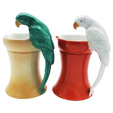 "Spectacular & Scarce Royal Bayreuth 1900's Hand Painted ""Parrot Handle"" 6-1/2"" Water Pitcher"