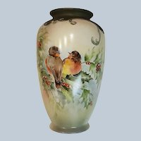 """Spectacular Bavaria 1900's Hand Painted Colorful """"Singing Robins & Holly & Berry"""" 8-1/2"""" Scenic & Floral Vase by Artist, """"W. Richard"""""""