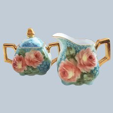 """Wonderful Bavaria 1900's Hand Painted Vibrant """"Peach Roses & Forget Me Not"""" Floral Creamer & Sugar Set by the Artist, """"Mariam"""""""