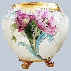 """Extraordinary & Large 11"""" Bernardaud & Co. France Limoges 1916 Hand Painted """"Red & Pink Tulips"""" & Gold Tracing 4-Footed Floral Jardiniere"""