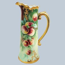 """Spectacular 15"""" Jean Pouyat Limoges France & Stouffer Studio of Chicago 1905 Hand Painted Vibrant """"Peaches"""" Fruit Decor Tankard by Listed Artist, """"Jacob Kiefus"""""""