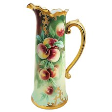 "Spectacular 15"" Jean Pouyat Limoges France & Stouffer Studio of Chicago 1905 Hand Painted Vibrant ""Peaches"" Fruit Decor Tankard by Listed Artist, ""Jacob Kiefus"""