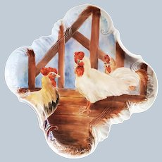"""Charming Bavaria 1900's Hand Painted """"Rooster & Hens in the Chicken Coop"""" 12"""" x 12"""" Scenic Tray by Artist, """"Lori Katz"""""""