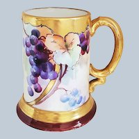 """Gorgeous Jean Pouyat Limoges France 1900's Hand Painted """"Purple Grapes"""" Tankard Stein by Artist, """"R. Schabe"""""""