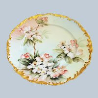 """""""Ester Miler"""" Stunning Tressemann & Vogt Limoges France 1900 Hand Painted """"Petite Peach Roses"""" 9-3/8"""" Rococo Style Floral Plate"""