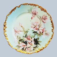 """Ester Miler"" Stunning Tressemann & Vogt Limoges France 1900 Hand Painted ""Apple Blossoms"" 9-3/8"" Rococo Style Floral Plate"
