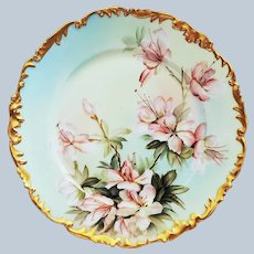 """""""Ester Miler"""" Stunning Tressemann & Vogt Limoges France 1900 Hand Painted """"Peach Daffodils"""" 9-3/8"""" Rococo Style Floral Plate"""