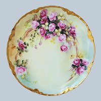 """Gorgeous Vintage Haviland France Limoges 1900's Hand Painted """"Petite Red & Pink Roses"""" Floral Plate"""