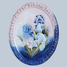 "Stunning 14-1/2"" Gerold Porzellan Bavaria 1900's Hand Painted ""Purple & White Iris"" Fancy Floral Plaque by Artist, ""Jean Helm"""