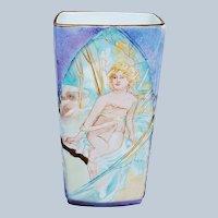 "Stunning Gerold Porzellan Bavaria 1900's Art Deco ""Lounging Lady"" With Orange Lilies 8-1/2"" Scenic & Floral Vase"