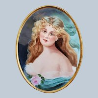 """Beautiful 12-3/8"""" Gerold Porzellan Bavaria 1900's Hand Painted """"Portrait of a Lady"""" Scenic Plaque by Artist, """"Jean Helm"""""""