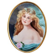 "Beautiful 12-3/8"" Gerold Porzellan Bavaria 1900's Hand Painted ""Portrait of a Lady"" Scenic Plaque by Artist, ""Jean Helm"""