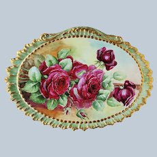 """Spectacular 13-3/4"""" William Guerin Limoges France 1908 Hand Painted """"Deep Red Roses"""" Scallop & Crimp Floral Plaque by Artist, """"Koy"""""""