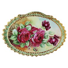 "Spectacular 13-3/4"" William Guerin Limoges France 1908 Hand Painted ""Deep Red Roses"" Scallop & Crimp Floral Plaque by Artist, ""Koy"""