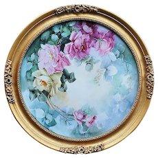"Breathtaking 19"" Tressemann & Vogt Limoges France 1900 Gilded Gold Framed Hand Painted ""Pink & Yellow Roses"" Floral Plaque"