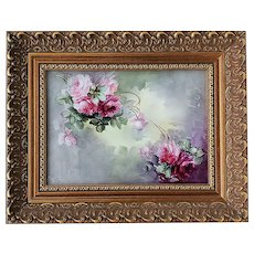"Gorgeous Limoges France 1900's Gilded Gold Framed Hand Painted ""Red & Pink Roses"" 13"" x 10-1/2"" Floral Plaque by Artist, ""M. Vaugh"""