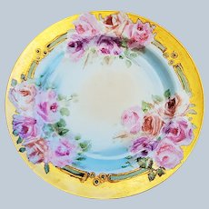 """Fabulous Haviland France 1900 Hand Painted """"Pink & Peach Roses"""" 8-3/4"""" Floral Plate"""