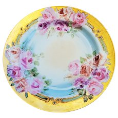 "Fabulous Haviland France 1900 Hand Painted ""Pink & Peach Roses"" 8-3/4"" Floral Plate"