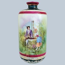 """Outstanding RS Prussia 1900 Colonial Scene """"Man & Women at the Well"""" 7-1/2"""" Vase with Royal Vienna Colors & Beehive Mark"""