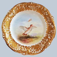 """Hammersley China 1900 Hand Painted """"Pair of Red Grouse"""" 9-1/4"""" Heavily Gilded, with Opals, Scenic Game Plate by Artist, """"A. Winkle"""""""