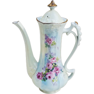 """Gorgeous Germany Hand Painted 1900's Petite """"Pink Roses"""" 9-3/4"""" Floral Chocolate Pot"""