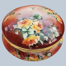 """Gorgeous 7"""" Bavaria 1920's Hand Painted """"Yellow Roses"""" Floral Dresser Box by Artist, """"W. Kimmel"""""""