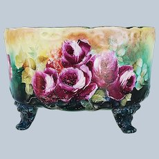 """Gorgeous Vintage Limoges France 1900's Hand Painted """"Deep Red Roses"""" 4-Footed Floral Planter by Pickard Artist, M. Rost """"LeRoy"""""""