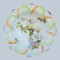"""Beautiful Bavaria 1900 """"Holly & Berry"""" with Christmas Roses 9-1/2"""" Scallop Floral Bowl"""