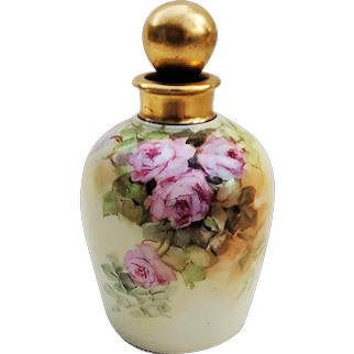 """Gorgeous GDA Limoges France & F.R. Cross Studio of Chicago 1900 Hand Painted """"Pink Roses"""" 5"""" Floral Perfume Bottle & Stopper"""