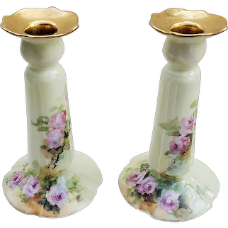 """Stunning Limoges France & F.R. Cross China Studio 1914 Hand Painted """"Pink Roses"""" Floral Candlestick Holders"""