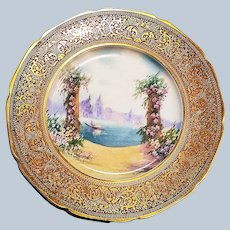 """Limoges France 1900's Hand Painted """"Scene of Venice On Water"""" 10-1/2"""" Scenic Plate by Pickard Artist, """"Arnold Rhodes"""""""