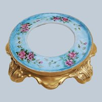 """Spectacular Limoges France 1900's Hand Painted """"Red & Pink Roses"""" Floral & Footed Plinth"""