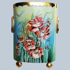 """Spectacular 12-1/2"""" Jean Pouyat Limoges France 1900 Hand Painted """"Burnt Orange Poppy"""" Floral & Footed Cache Pot by Artist, """"A.O. Balthaser"""""""