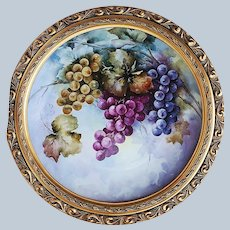 """Outstanding 15"""" Bavaria 1900's Hand Painted """"Purple & Green Grapes"""" Fruit Charger, Artist Signed with Gilded Gold Frame"""