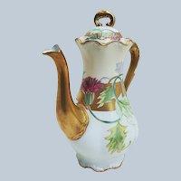 "Gorgeous Lazeyras, Rosenfeld, & Lehman Limoges France 1900 Hand Painted ""Red Thistle Flowers"" Floral Tea Pot"