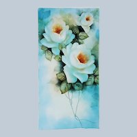 """Beautiful Bavaria 1900's Hand Painted """"White Roses"""" 12"""" x 6"""" Floral Plaque by Artist """"Jean Helm"""""""