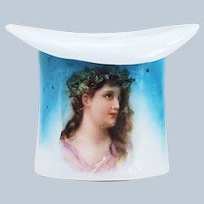 """Beautiful & Scarce RS Prussia [ES] 1900 Portrait """"Winter Season"""" Christmas Holly & Berry Top Hat Toothpick Holder"""
