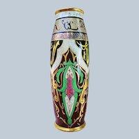 "Spectacular 22"" T & V Limoges & Carlsson & Bement Chicago Studio 1908 Hand Painted ""Arabia Motif"" Floor Vase by Artist F. Bement"