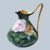 """Beautiful Vintage Limoges France 1900's Hand Painted """"Pink, Yellow, & White Roses"""" Fancy Floral Ewer"""