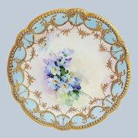 "Gorgeous Vintage Delinières & Co. Limoges France Pre-1900 Hand Painted ""Violets"" with Blue Beading Floral Plate, Artist Signed"