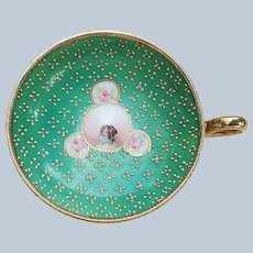 Wonderful Vintage Nippon 1900's Hand Painted Portrait & Beaded Nappy